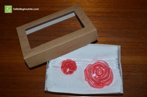 Kit 05 - Toalha de Lavabo Rosas Grande e Pequena.