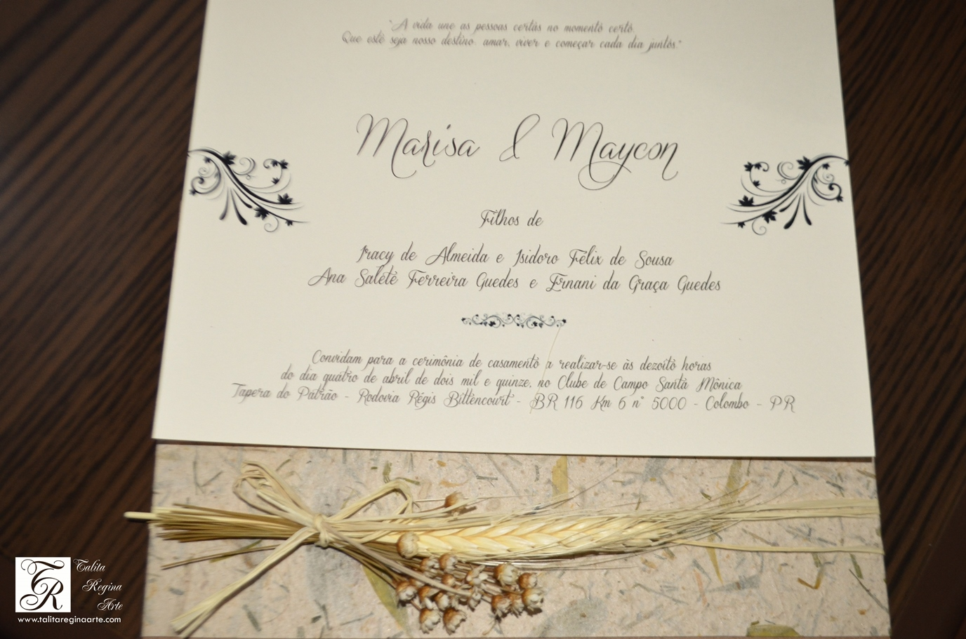 Convite De Casamento Rústico Talita Regina